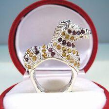 Horse Ring RHODOLITE & CITRINE 3.65 CTW sz 7 WHITE GOLD over 925 STERLING SILVER