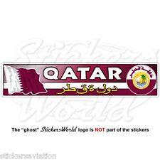 QATAR Flag-Coat of Arms, Qatari National Emblem 180mm Vinyl Bumper Sticker Decal