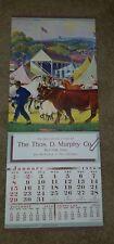 Vintage 1950 Country Fair Agriculture Cows Farmer Sheep Calendar Top Sample