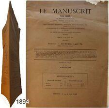 Le Manuscrit revue n°12 1894 Alphonse Labitte livre charte autographe curiosité