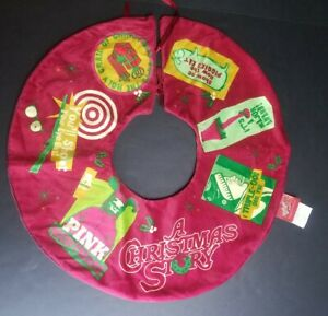 """A Christmas Story Table Top Tree Skirt Small 22"""" Round Movie Scenes Soft B50"""