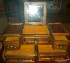Vintage! Sturdy All Wood! Jewelry Chest Box 4 Drawers Pat. Yoshikawa Japan NICE!