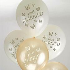 8 x Ivory and Gold Just Married Balloons.Butterfly design. Wedding decor