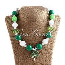 Green Clover Acrylic Chunky Bubblegum Kids Necklace St. Patrick's Day Style 3