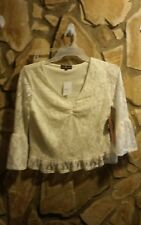 Rue 21 Women's Jrs 3/4 Sleeve Crop Top Lace M/XL **FREE CHOKER