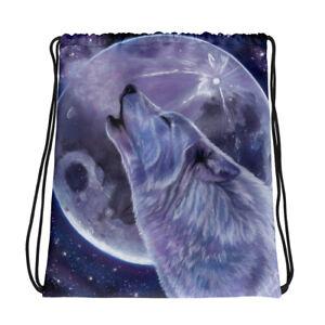 Wolf and Moon Drawstring bag