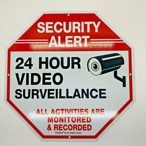 Home Video Surveillance 24 Hour Security Warning Sign Aluminum No Trespassing