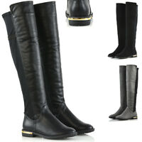 Womens Stretch Calf Leg Flat Low Heel Over The Knee Gold Trim Casual Boots Size