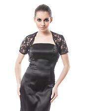 New Womens Wedding Prom Black Ivory Lace Bolero Shrug Jacket Stole UK Size 6-32