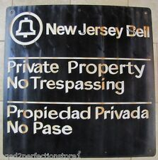 Old New Jersey Bell Telephone Sign Private Property No Trespassing LRG enml/por