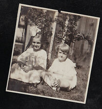 Antique Vintage Photograph Two Young Girls Sitting on Ground - Huge Bow in Hair