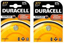 2x Duracell 377 1.5 V Reloj De Óxido De Plata Batería D377, SR66, SR626W, D376, V377