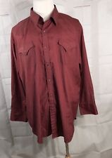 Ely Cattleman Mens Size 18.5 35 Red Western Snap up Shirt XXL