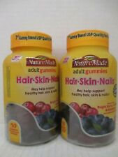 2 NATURE MADE HAIR, SKIN & NAILS ADULT GUMMIES 90 EACH EXP: 5/20 TF 1433