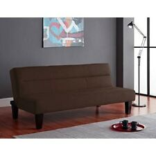Brown Microfiber Futon Sofa Bed Single Living Room Furniture Dorm Den Guest