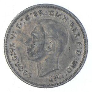 SILVER Roughly Size of Quarter 1942 Australia 1 Florin World Silver Coin *587