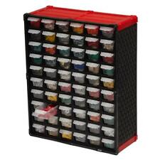 60-Compartment Small Parts Organizer Red Drawer Storage Wall-Mount Toys Home