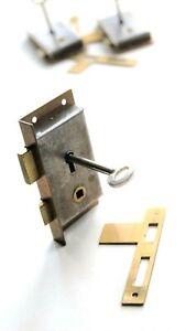 "Vintage Cut Cabinet Door / Wardrobe Cupboard LOCK c/w key 3 7/16"" x 1 3/4"" CCL3"