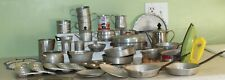 Lot of Vintage Child Toy Tin Aluminum Cooking Baking Play Set w/ Silverware 50+