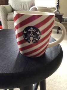 Starbucks Red & White Candy Cane Stripe Coffee Mug Cup 12oz Christmas Logo EUC