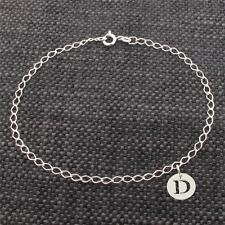 925 Solid Sterling Silver Curb Link Ankle Bracelet Anklet With Any Initial Charm