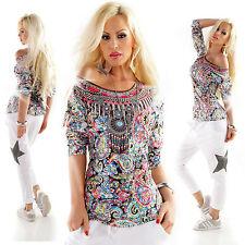 Mehrfarbige taillenlange Damenblusen, - tops & -shirts mit Rundhals-Ausschnitt