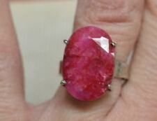 RUBY 24 CTS .925 STERLING SILVER RING APPRAISED $1890.00 SZ 7.25