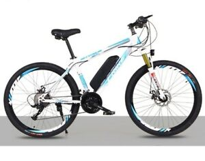 Electric Bikes, E-Bikes, Ebikes for Adults, 250W, 21 Speed (White & Blue)
