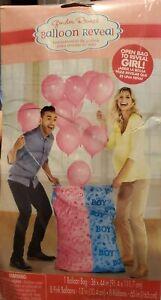 "GIRL Gender Reveal Balloon Release Bag 36"" x 44"" & 8 PINK 12"" Balloons w/ Ribbon"