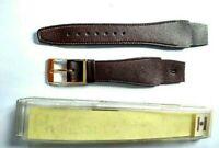 NOS Vintage Hirsch Leather Dark Brown Gold Buckle Watch Band 18mm