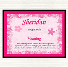 Sheridan Name Meaning Dinner Table Placemat Pink