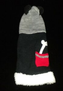 PRE-OWNED XXS BLACK DOG HOODIE WITH RED POCKET HOLDING WHITE BONE, BLACK & WHITE