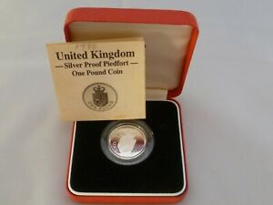 1988 UK One Pound Coin Silver Piedfort Proof Boxed with Certificate FDC