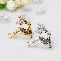 VINTAGE CHRISTMAS DEER BROOCH PIN RHINESTONE ENAMEL BADGE JEWELRY GIFT FADDISH