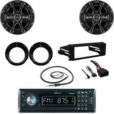 "Lanzar Bluetooth Radio, Harley FLHX DIN Kit, Kicker 6.5"" Speaker Set, Antenna"