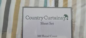NEW FULL SIZE SHEET SET MULTI COLOR STRIPED SHEET SET 300 THREAD COUNT COTTON