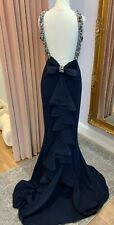 PIA MICHI 1782 NAVY BOW BACKLESS PROM PAGEANT EVENING GOWN BNWT