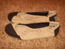 TOMS One for One Black Tan Two Tone Linen Slip On Ballet Flats Shoes Womens 5