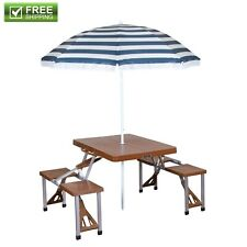 Folding Portable Picnic Table Outdoor Umbrella Set Blue, Brown Patio Camping New