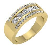 SI1 G 1.75 Ct Natural Diamond Mens Wedding Ring 14K Rose Gold Prong Channel Set