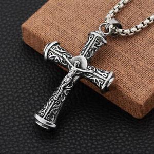 Jesus Christ Crucifix Cross Pendant Necklace Stainless Steel Chain For Men Women