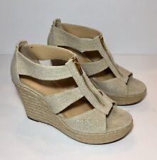 Michael Kors Womens Damita Tan Natural Canvas Wedge Platform Heels Shoes 8.5M