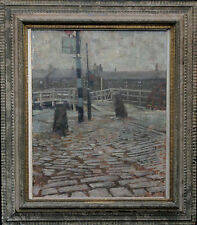 GEOFFREY SQUIRE 1923-2012 SCOTTISH IMPRESSIONIST GLASGOW OIL PAINTING ART DOCKS
