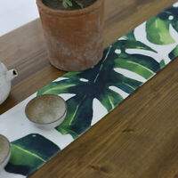 10cmx125cm Leaf Pattern Table Runner Cotton Linen for Xmas Wedding Party Decor