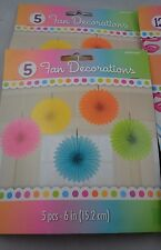 Lot of 2 - Mini Fan Decorations (pack of 5) 6 inches diameter