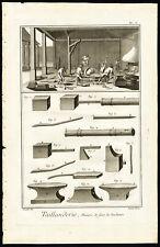 10 Antique Prints-TOOLMAKER-FORGING-WORKSOP-TAIILANDERIE-Diderot-Benard-1751