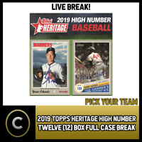 2019 TOPPS HERITAGE HIGH NUMBER 12 BOX (FULL CASE) BREAK #A406 - PICK YOUR TEAM