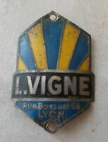 Head badge cycle Vintage L VIGNE Lyon France bicycle antique bike french