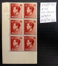 Gb 1936 Ed.Viii - 1½d Cyl Block of 6 As Described U/M See Below Nk719