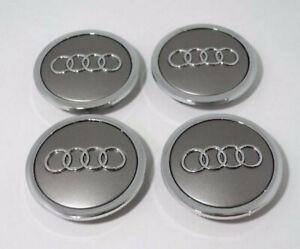 4x 69mm Grau-Silber Felgendeckel Rad Nabendeckel Nabenkappen für AUDI Alufelgen